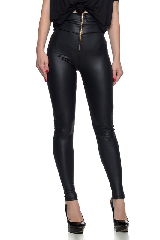 Exposed Zipper Faux Leather High Waist Legging Small – Large
